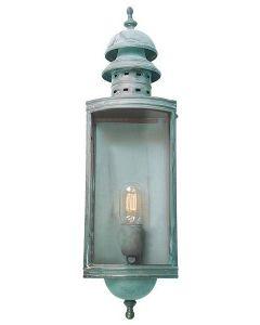 Downing Street Solid Brass Outdoor Lantern, Verdigris