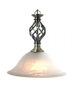 Antique Brass Barley Twist Pendant Ceiling Light with Alabaster Glass