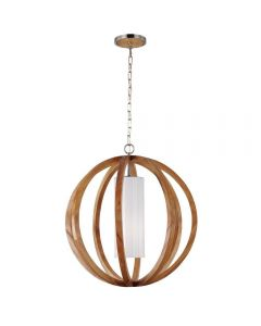 FE/ALLIER/P/L LW Allier 1 Light Wood and Brushed Steel Large Ceiling Pendant
