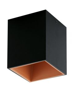 Eglo 94496 Polasso One Light Cubed LED Ceiling Light In Black And Copper