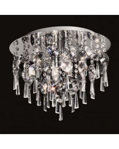 C5716 4 Light Chrome and Crystal Flush Ceiling Light
