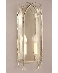 Gothic N732A Solid Brass Nickel Plated 2 Light Wall Lantern