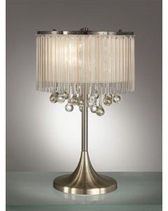 T986 3 Light Table Lamp In Bronze With Crystal Drop Decoration