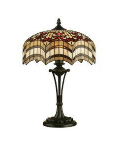 Interiors 1900 64376 Vesta Tiffany Small 2 Light Table Lamp In Bronze With Shade