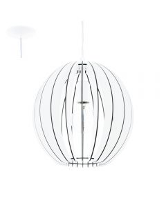 Eglo 94438 Cossano One Light Ceiling Pendant Light In White Wood - Dia: 300mm