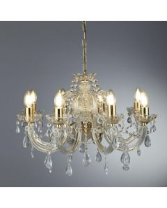Searchlight 699-8 Marie Therese 8 Light Ceiling Chandelier In Polished Brass