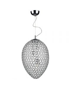 Dar FRO0350 Frost 3 Light Chrome And Crystal Pendant