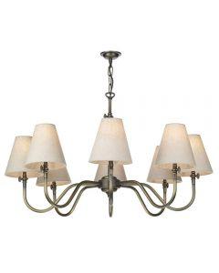 David Hunt Lighting HIC0875 Hicks Eight Light Muilti Arm Ceiling Light In Antique Brass - Fitting Only