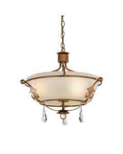 Elstead WINDSOR/SF Windsor 3 Light Semi Flush/Pendant Ceiling Light in Gold Patina