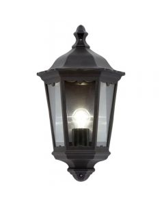 Saxby 76547 Burford 1 Light Outside Wall Light In Matt Black With Clear Glass