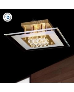 IL32024 Delmar 6 Light Gold And Crystal Flush Ceiling Lamp