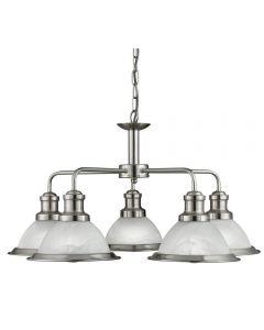 Searchlight 1595-5SS Bistro 5 Light Ceiling Pendant Light Silver