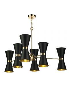 David Hunt Lighting HYD1222 Hyde Twelve Light Ceiling Pendant Light In Polished Brass With Black Metal Shades
