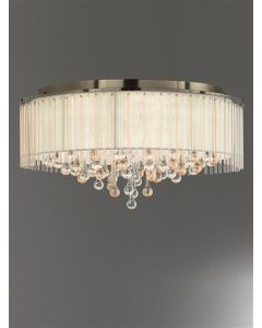 F2345/8 Large 8 Light Flush Ceiling Light In Bronze With Crystal Drops