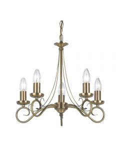 Endon 180-5AN 5 Light Chandelier In Antique Brass