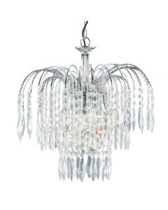 Searchlight 4173-3 Waterfall Chrome 3 Light Crystal Ceiling Pendant