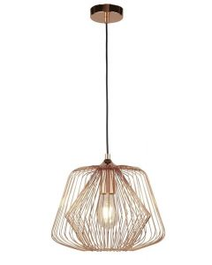 Searchlight 0211CU Bell Cage 1 Light Ceiling Pendant Light In Copper