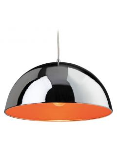 Firstlight 8622 Bistro 1 Light Ceiling Pendant in Chrome and Orange
