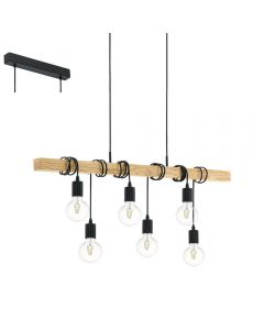 Eglo 95499 Townshend 6 Light Rope Light Ceiling Light With Wooden Bar