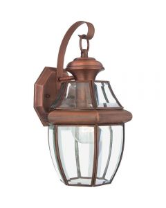 QZ/NEWBURY2/MAC Newbury Medium Outdoor Wall Lantern In Aged Copper - H: 356mm