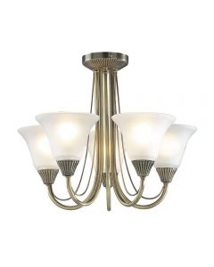 Dar BOS05 Ceiling Pendant  in Antique brass with 5 Lights