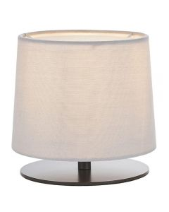 Endon 79501 Carlson Table Lamp In Matt Black With Light Grey Fabric Shade