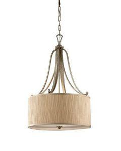 FE/ABBEY/P Abbey 3 Light Silver Sand Finish Ceiling Pendant