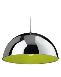 Firstlight 8622 Bistro 1 Light Ceiling Pendant in Chrome and Green Finish
