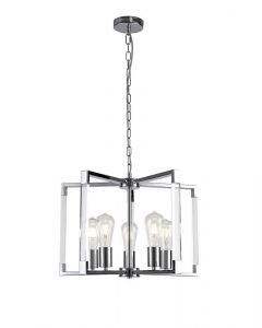 Diyas IL32783 Canto 5 Light Rectangular Pendant In Polished Nickel