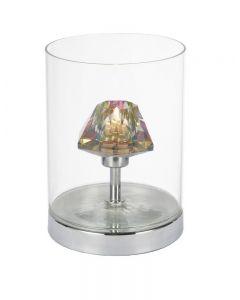 Dar DEC4108 Decade 1 Light Dichroic Glass Polished Chrome Table Lamp
