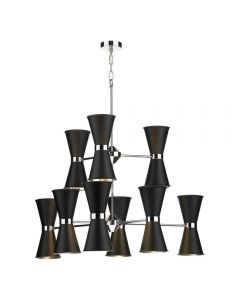 David Hunt Lighting HYD1822C The Hyde 18 Light Ceiling Pendant In Black Metal And Chrome
