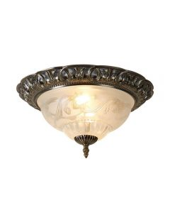 Searchlight 7045-13 Flush Ceiling Light In Antique Brass With Glass Diffuser