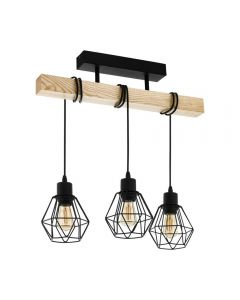 Eglo 43131 Townshend 5 3 Light Linear Ceiling Light In Wood With Steel Shades