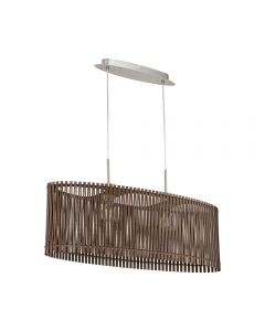 Eglo 96201 Sendero Two Light Ceiling Pendant Light In Satin Nickel And Brown Wood - Length - 775mm