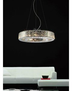 Diyas IL30079 Torre Crystal Ceiling Pendant Light in Polished Chrome Finish