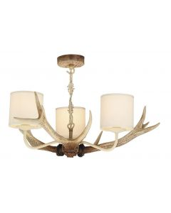 David Hunt Lighting ANT0315 Antler Bleached Pendant with Cream Shades