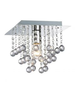Palazzo 1 Light Square Acrylic Flush Ceiling Chandelier In Polished Chrome