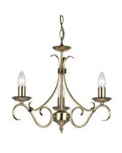 Endon 2030-3AN 3 Light Chandelier In Antique Brass