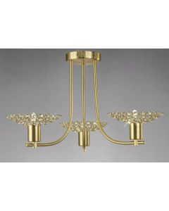 Diyas IL20601 Ellen Satin Brass And Crystal Ceiling Pendant Light