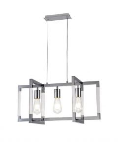 Diyas IL32782 Canto 3 Light Linear Rectangular Pendant In Polished Nickel