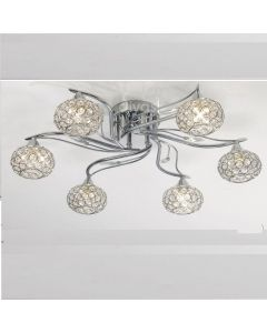 IL30956 Leimo 6 Light Chrome Flush Ceiling Light