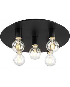 Modern Matt Black Vintage Edison Industrial Retro 5 Ceiling Light for Edison Lamps
