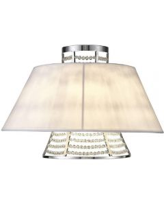 Diyas IL30054/WH Davina 2 Light Wall Light In Polished Chrome With White Shade