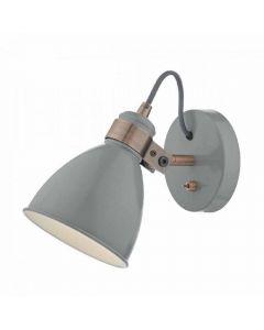 Dar FRE0739 Frederick 1 Light Wall Light In Grey
