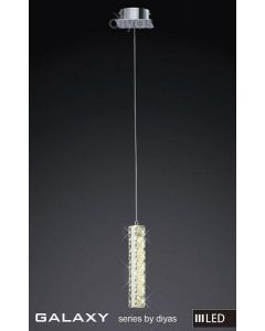 IL80033 Galaxy LED 6 Light Chrome & Crystal Single Pendant