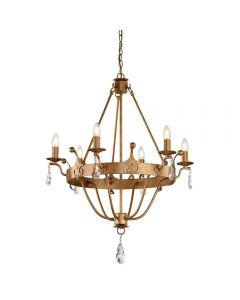 Elstead WINDSOR6 Windsor 6 Light Ceiling Chandelier Light In Gold Patina
