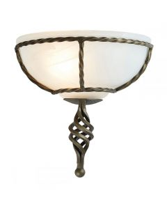Elstead PB/WU BLK/GOLD Pembroke 1 Light Wall Uplighter In Black/Gold With Glass Shade