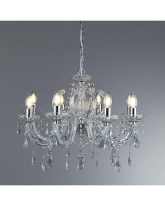 Searchlight 399-8 Marie Therese 8 Light Chandelier Ceiling Light In Polished Chrome.