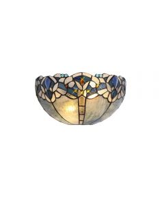 Meccha 2 Light Wall Light With 300mm Blue, Clear And Black Tiffany Shade