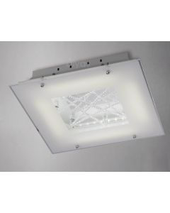 Diyas IL80050 Felix LED Chrome And Frosted Glass Flush Ceiling Light